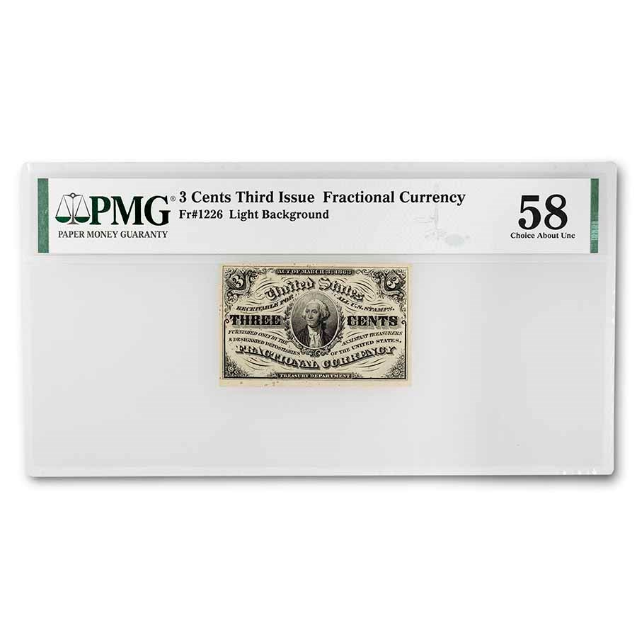 3rd Issue Fractional Currency 3 Cents Ch AU-58 PMG (Fr#1226)