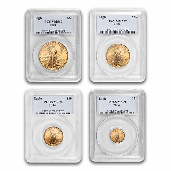 4-Coin American Gold Eagle Set MS-69 PCGS (Random Year)