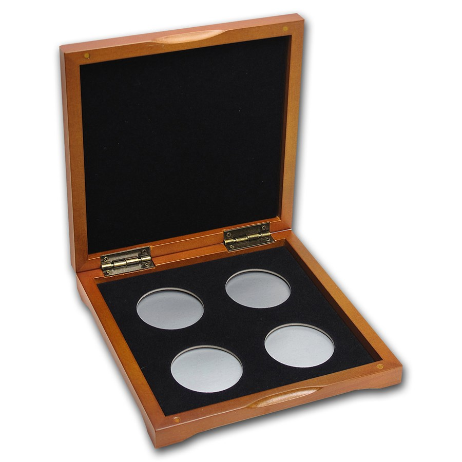 4 coin Wood Presentation Box - Fits Up to 40 mm