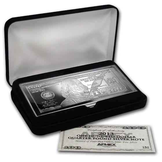 4 oz Silver Bar - 2013 $100 Bill (W/Box & COA)