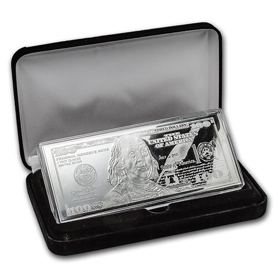 4 oz Silver Bar - 2016 $100 Bill (w/Box & COA)