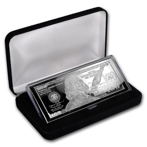4 oz Silver Bar - 2017 $100 Bill (w/Box & COA)