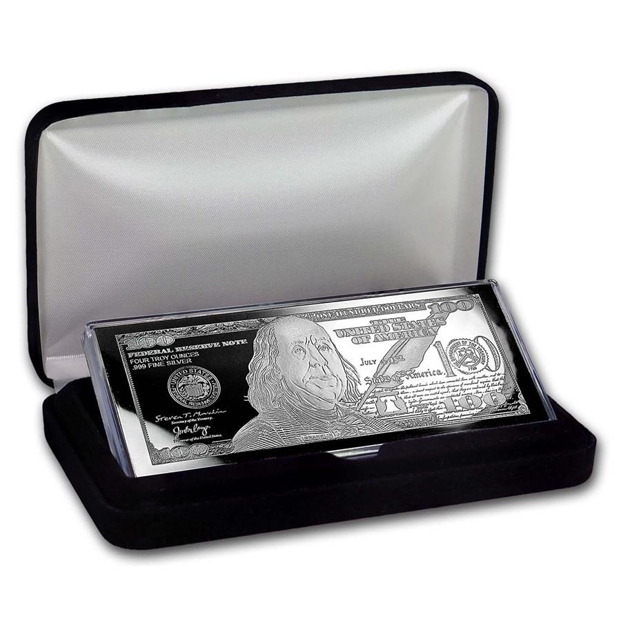 4 oz Silver Bar - 2018 $100 Bill (w/Box & COA)