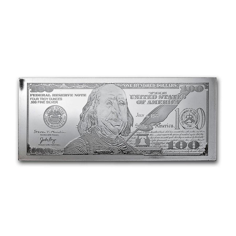 4 oz Silver Bar - 2020 $100 Bill (w/Box & COA)