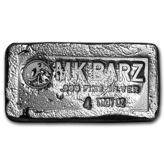 4 oz Silver Bar - MK Barz & Bullion