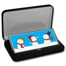 4 oz Silver Colorized Bar - Cheery Snowmen (w/Box)