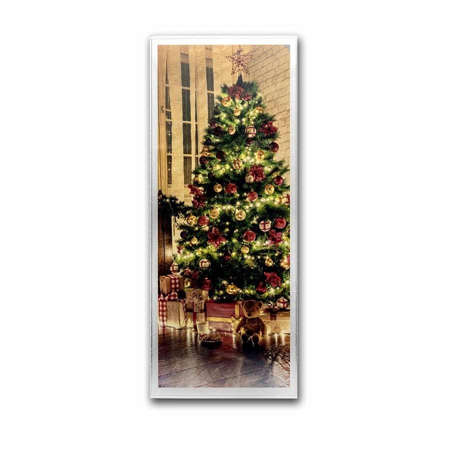 4 oz Silver Colorized Bar - Christmas Tree (Vertical, w/Box)