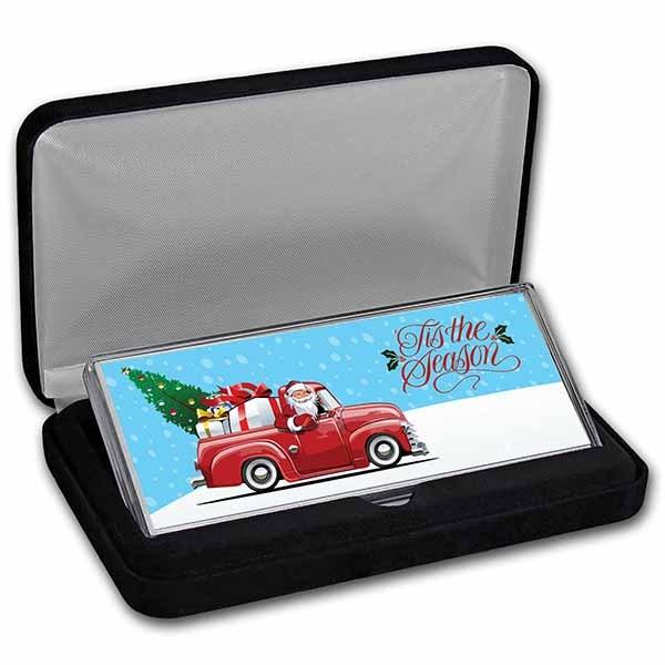 4 oz Silver Colorized Bar - Farm Truck Santa (w/Box)