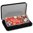 "4 oz Silver Colorized Bar - Festive ""Merry Christmas"" (w/Box)"