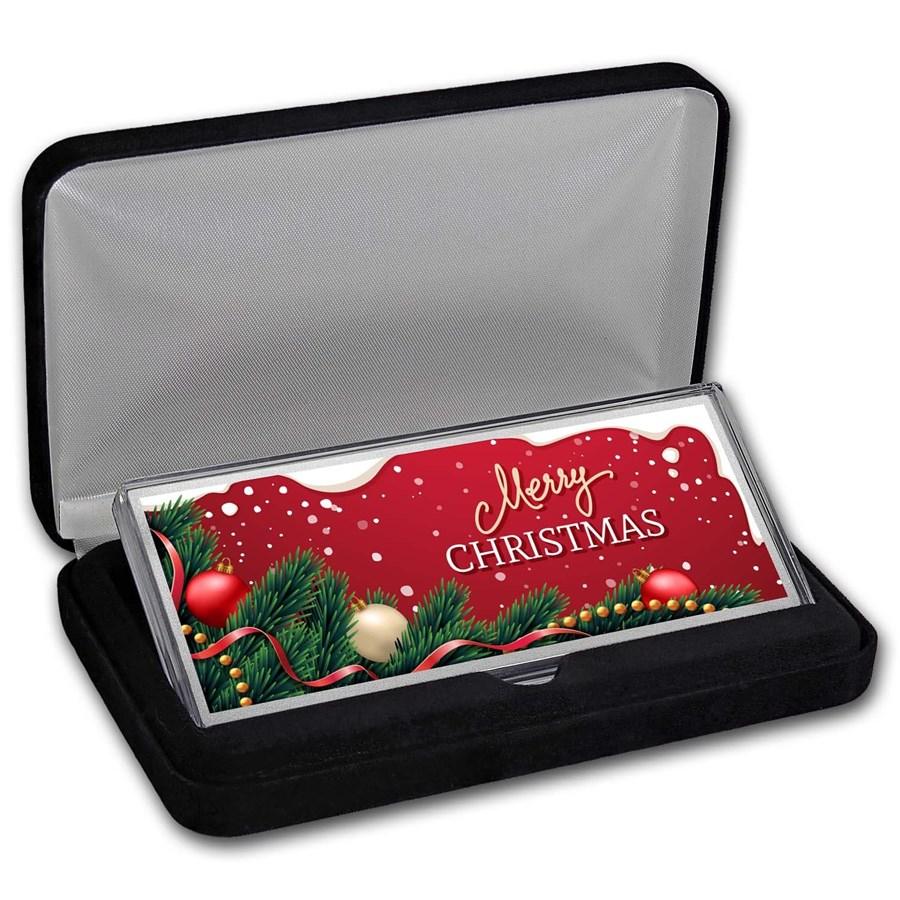 "4 oz Silver Colorized Bar - Garland ""Merry Christmas"" (w/Box)"