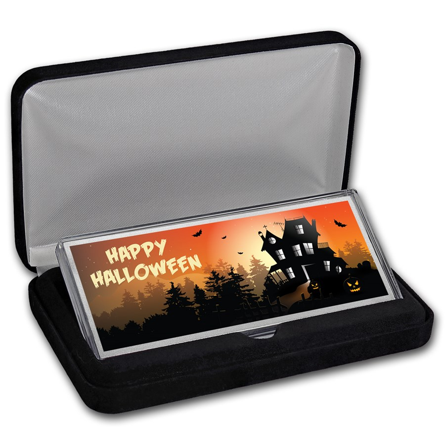 """4 oz Silver Colorized Bar - (Happy Halloween """"Haunted House"""")"""