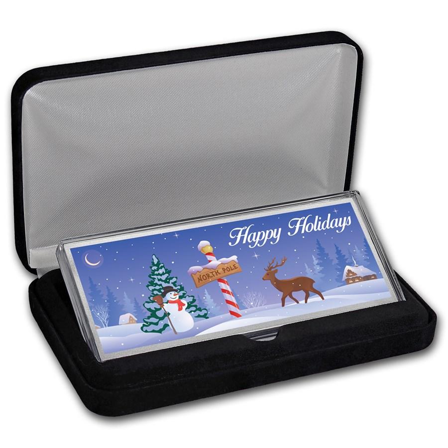 """4 oz Silver Colorized Bar - North Pole """"Happy Holidays"""" (w/Box)"""