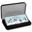"4 oz Silver Colorized Bar - Penguins ""Merry Christmas"" (w/Box)"