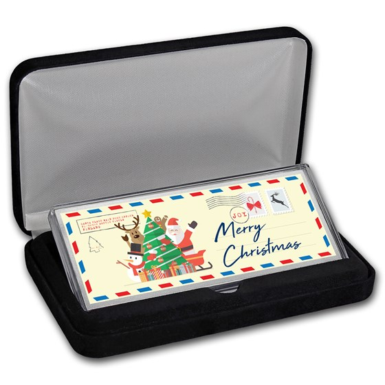 "4 oz Silver Colorized Bar - Postcard ""Merry Christmas"" (w/Box)"
