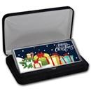 "4 oz Silver Colorized Bar - Presents ""Merry Christmas"" (w/Box)"