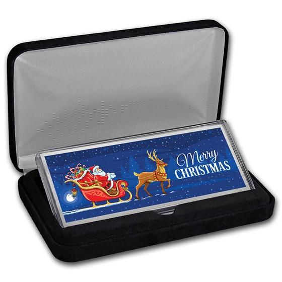 4 oz Silver Colorized Bar - Santa's Sleigh & Reindeer (w/Box)