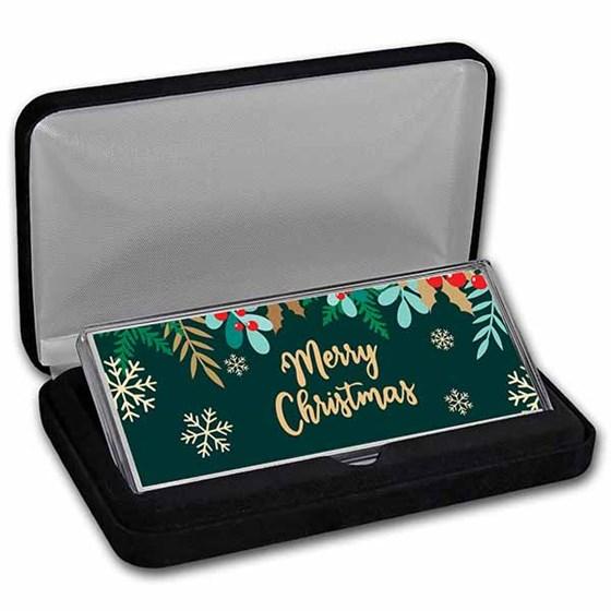 "4 oz Silver Colorized Bar - Whimsical ""Merry Christmas"" (w/Box)"