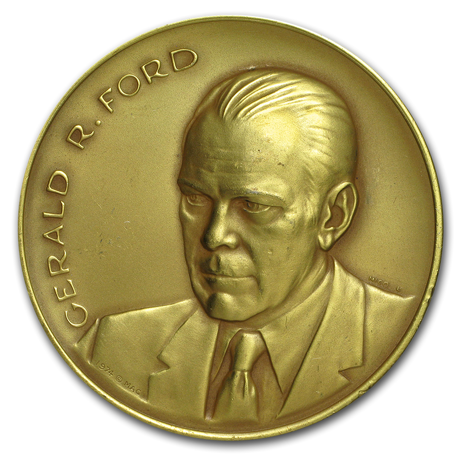 4 oz Silver Round - Gerald R. Ford (Matte Finish, Gilded)