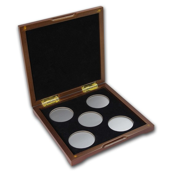 5 coin Wood Presentation Box - Fits Up to 40 mm