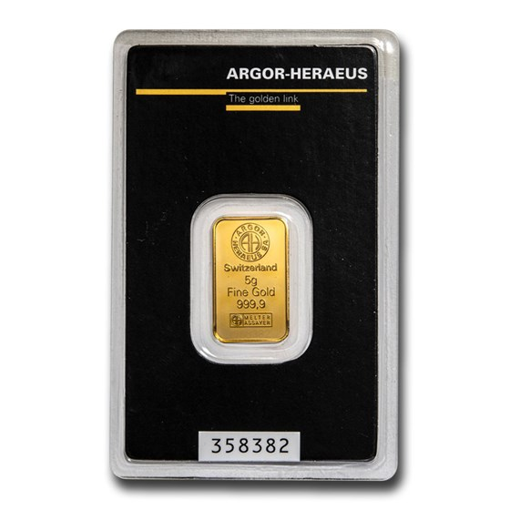 5 gram Gold Bar - Argor-Heraeus (In Assay)