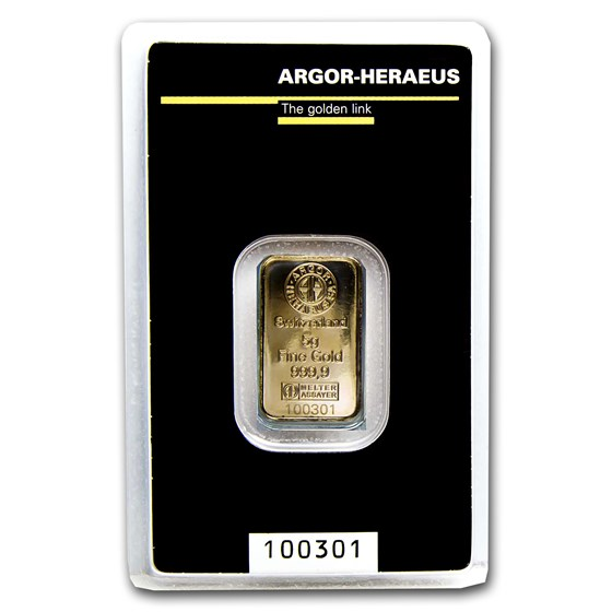5 gram Gold Bar - Argor-Heraeus KineBar Design (In Assay)