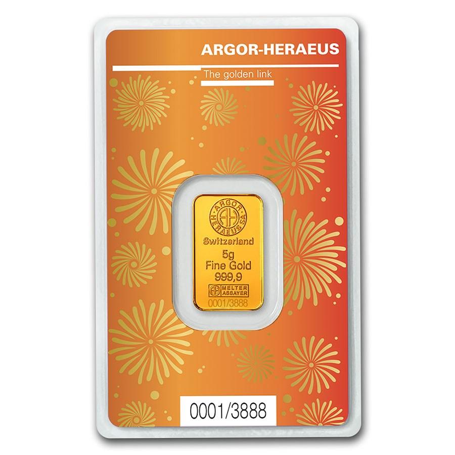 5 gram Gold Bar - Argor-Heraeus Year of the Ox (In Assay)