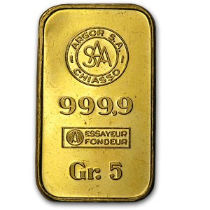 5 gram Gold Bar - Argor S.A. Chiasso