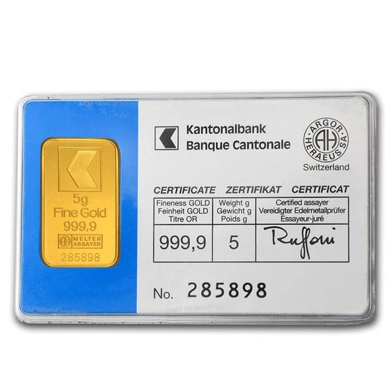 5 gram Gold Bar - Banque Cantonale