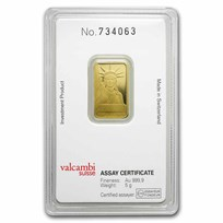 5 gram Gold Bar - Credit Suisse Statue of Liberty (New Assay)