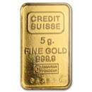 5 gram Gold Bar - Credit Suisse Vintage Design