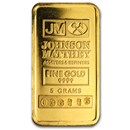 5 gram Gold Bar - Johnson Matthey