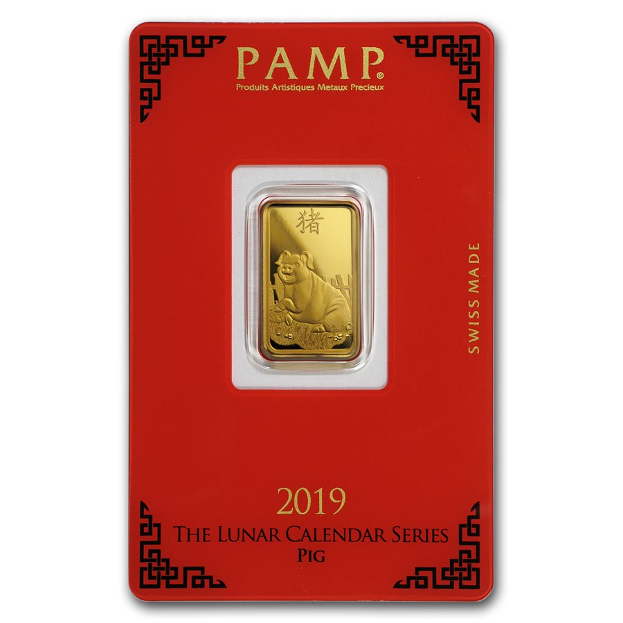 5 gram Gold Bar - PAMP Suisse Year of the Pig (In Assay)