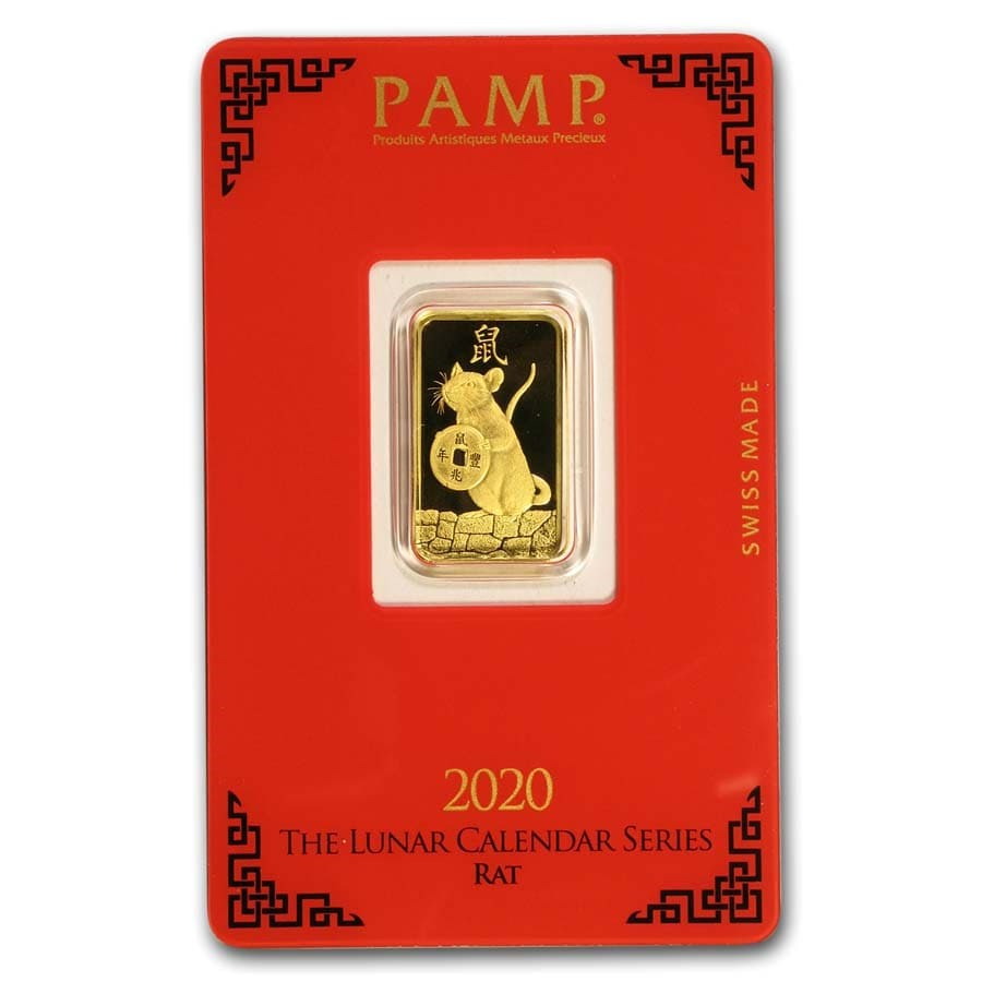 5 gram Gold Bar - PAMP Suisse Year of the Rat (In Assay)