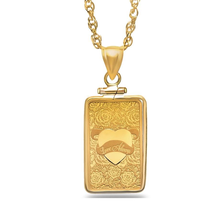 5 gram Gold Pendant - PAMP Suisse Love Always (w/Chain)