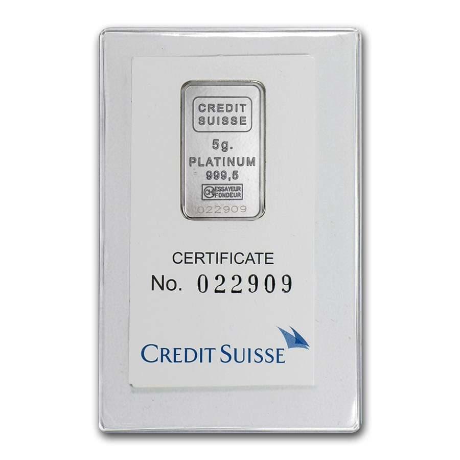 5 gram Platinum Bar - Credit Suisse (In Assay)