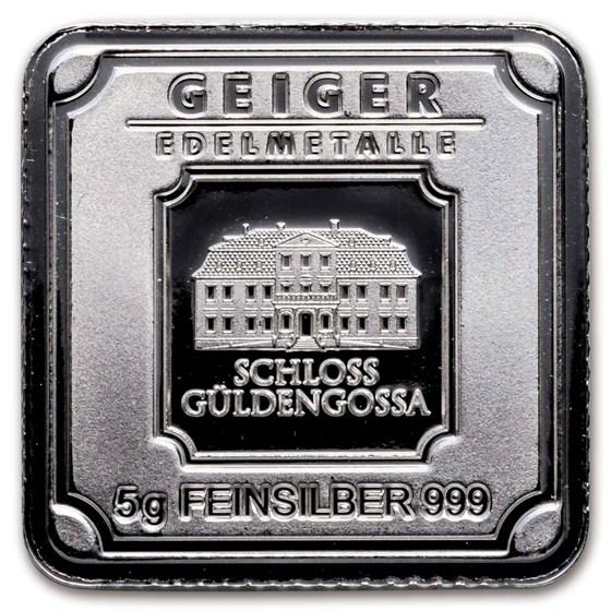 5 gram Silver Bar - Geiger Edelmetalle (Original Square Series)