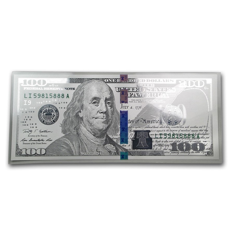 5 gram Silver Note - $100 Replica (Benjamin Franklin Design, 999)