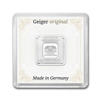 5 gram Silver Square - Geiger Edelmetalle (Encapsulated w/Assay)