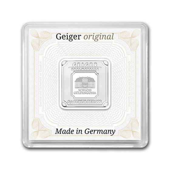 5 gram Silver Square - Geiger Edelmetalle (Encapsulated w/Assay)