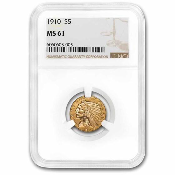 $5 Indian Gold Half Eagle MS-61 NGC