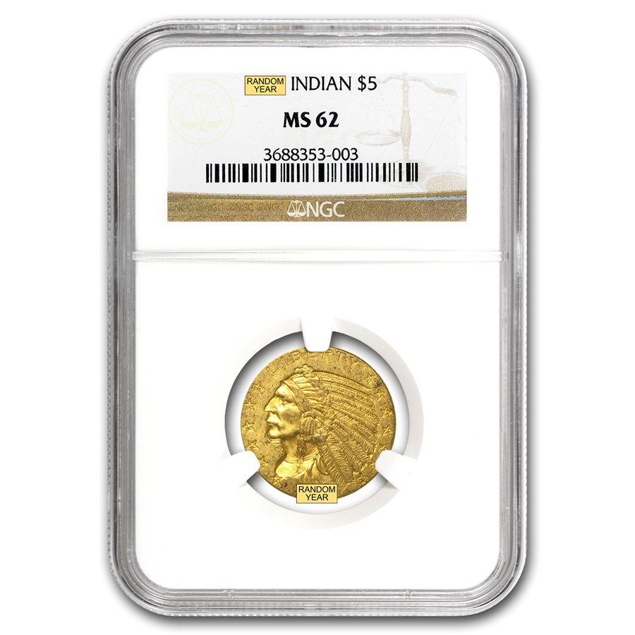 $5 Indian Gold Half Eagle MS-62 NGC