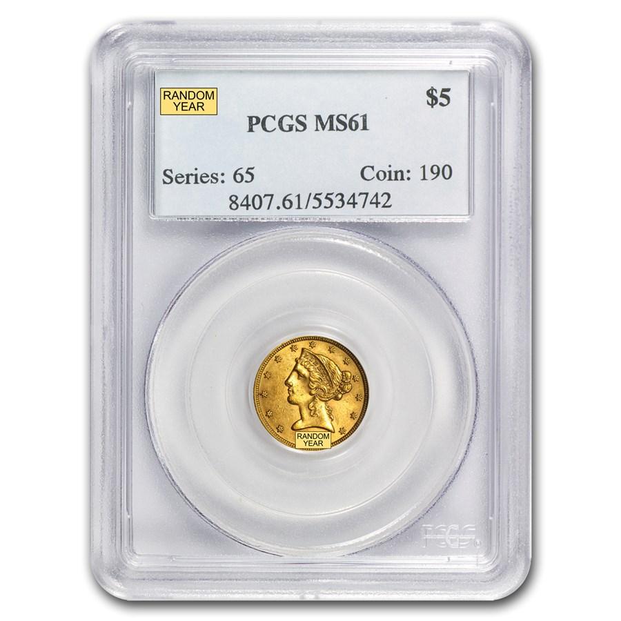 $5 Liberty Gold Half Eagle MS-61 PCGS
