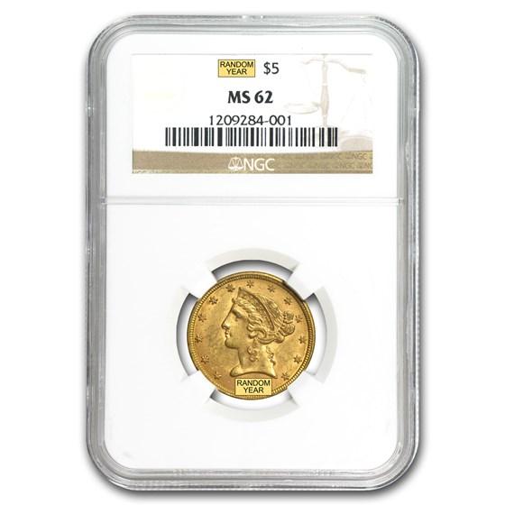 $5 Liberty Gold Half Eagle MS-62 NGC