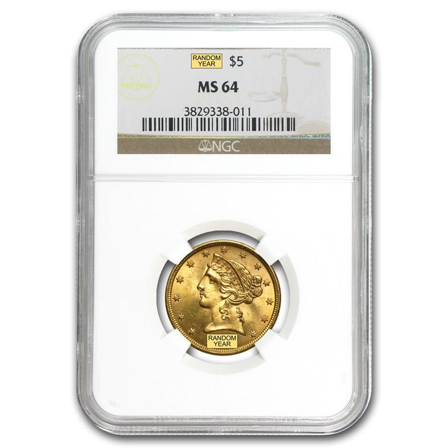 $5 Liberty Gold Half Eagle MS-64 NGC