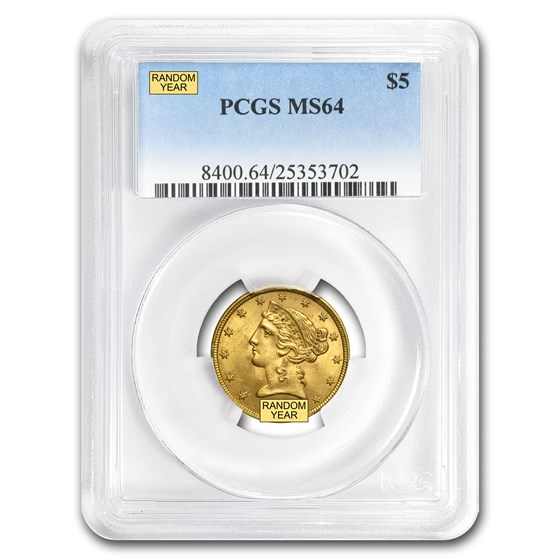 $5 Liberty Gold Half Eagle MS-64 PCGS