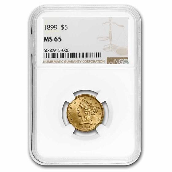 $5 Liberty Gold Half Eagle MS-65 NGC