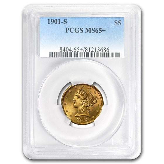 $5 Liberty Gold Half Eagle MS-65+ PCGS