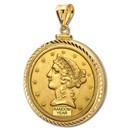 $5 Liberty Gold Half Eagle Pendant (Diamond-ScrewTop Bezel)
