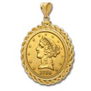 $5 Liberty Gold Half Eagle Pendant (Rope-ScrewTop Bezel)