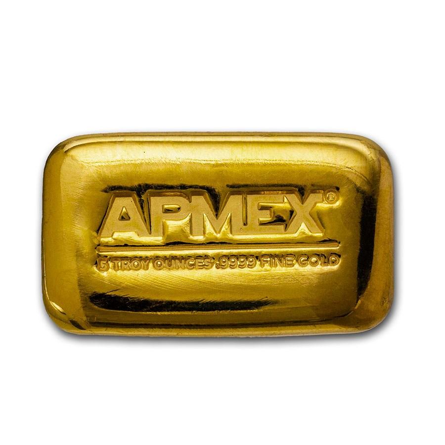 5 oz Cast-Poured Gold Bar - APMEX